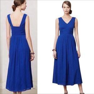 ANTHRO EDME &ESYLLTE Blue Caravie Crepe Midi Dress